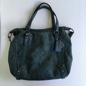 Coach Embossed Studded Leather Alexandra Teal